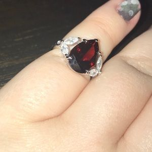 Dark Ruby pear shaped ring